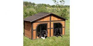 Best Big Dog House-Merry Products Darker Stain Duplex Dog House